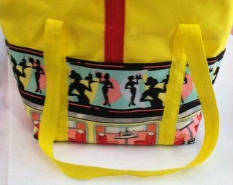 Large Tote in Bright Yellow with 1950s diner print pockets trimmed in red.