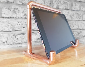 Copper Pipe iPad Stand/Holder, Tablet Rest, Charging Station, Desk Tidy, Industrial Rose Gold Metal, Copper pipe, Modern