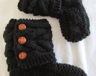 Black Knitted Cozy Slippers - Slipper Socks - Black  Slippers - Women's Slippers - MADE TO ORDER