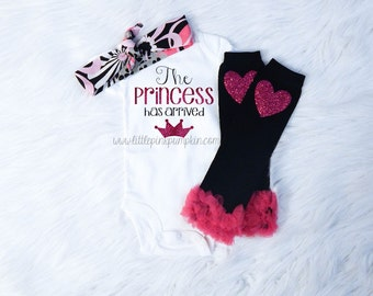 Baby Girl Clothes, The Princess Has Arrived Outfit, Black and Pink, Baby Shower Gift, Coming Home Outfit, Take Home Outfit