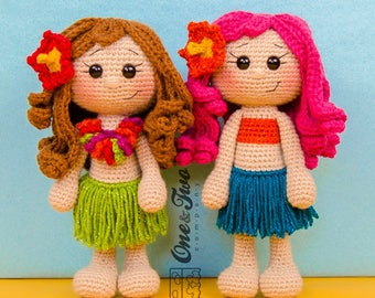 Mya the Hawaiian Girl Amigurumi - PDF Crochet Pattern - Instant Download - Amigurumi crochet Cuddy Stuff Plush