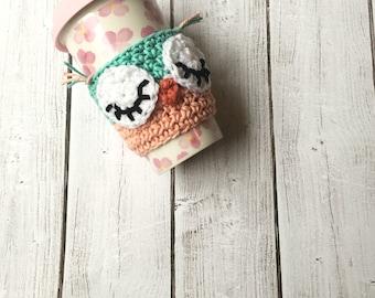 owl coffee cozy/ crochet drink cozy/ coffee mug cover/ travel mug cover