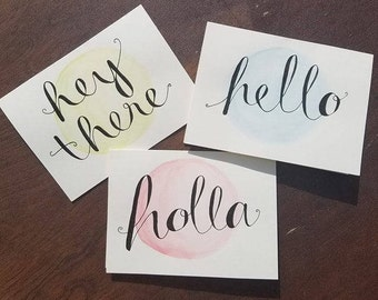 Hand-painted Watercolor Note Card Set with Hand Lettering in Ink (4x6)