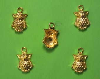 LOT 5 METALS CHARMS Gold: 16 mm OWL