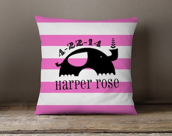 Pillow Dorm Pillow Personalized Initial Baby Birthdate Birth Announcement Pillow Striped Elephant