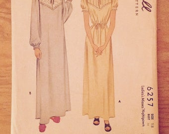 1945 Ladies nightgown McCall 6257 miss size 18, bust 36, vintage women's nightdress OOP sewing pattern supply, WWII era lingerie, nightie