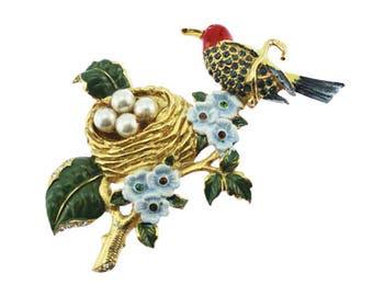 Pot Metal Bird Brooch, Rhinestone Bird Brooch, Large Gold and Rhinestone Bird Nest Brooch