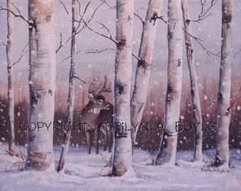 ORIGINAL ACRYLIC - DEER; 11 x 14 inches, stretched canvas, white tail deer, winter, snowfall, Canadian art, wildlife art, wildlife,