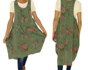 IC900GN ladies tunic geblühmt long tunic Victorian rose situation look one size vintage Gr. 36 38 40 42 Green
