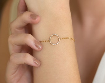 Eternity Bracelet, Rose Gold Bracelet, Crystal Bracelet, Minimalist Bracelet, Rose Gold Delicate Bracelet, Dainty Charm Bracelet, B162K-RG