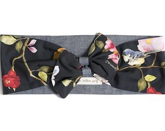 Vintage inspired knot headband handmade in pure cotton - 50s retro headband -Summer head wrap - Headband with flowers birds butterflies
