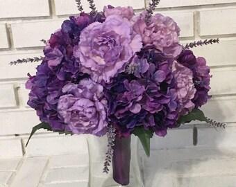 Purple Hydrangea & Carnation Wedding Bouquet