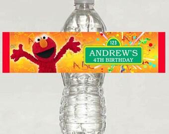 Elmo-Sesame-Street birthday water bottle label - Printable