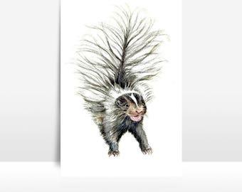 Skunk Greeting Card, Note Card, watercolor skunk art, baby skunk