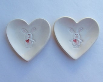"""Valentine, Ceramic Heart Plate, Set of Two, Bunny 3 1/8"""", Hand Built, Handpainted"""