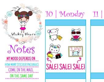Blossom Bear - Shopping Sale, Cute Stickers for Personal planners, Erin Condren Life Planner, Happy Planner or Scrapbooking