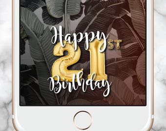 21st Birthday Filter, 21 Gold Balloons, Gold Balloons Filter, 21st Birthday Snapchat Geofilter, Snapchat Geofilter 21st, Instant Download