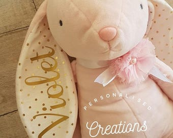 Personalised Bunny - 4 different colours! Pink - White/Pink - Grey - Mint
