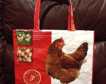 Repurposed Nutrena chicken feed bag tote zero waste