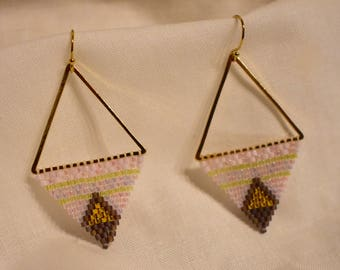 dangle triangle bead earrings
