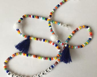 """Eyewear necklace for Sunglasses """"Beach Please"""" Made of pearls, Pompoms and Tassels colorful Rainbow"""