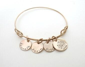 Personalized Bracelet - Family Tree Bracelet - Personalized Bangle - Gold Name Bracelet - Personalized Jewelry - Custom Mothers Bracelet