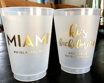 Personalized Cups, Plastic Cups, Frosted Cups, Bachelorette Cups, Gold Cups, Wedding Cups, Party Cups, Cups for Weddings, Custom Cups, 1726