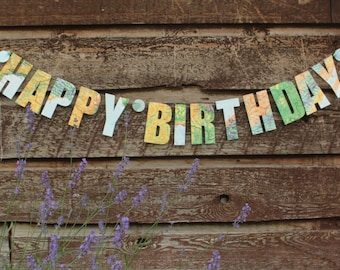 Happy Birthday Banner, Birthday Garland, Party Decorations, Paper Garland, Map Garland, Made to Order