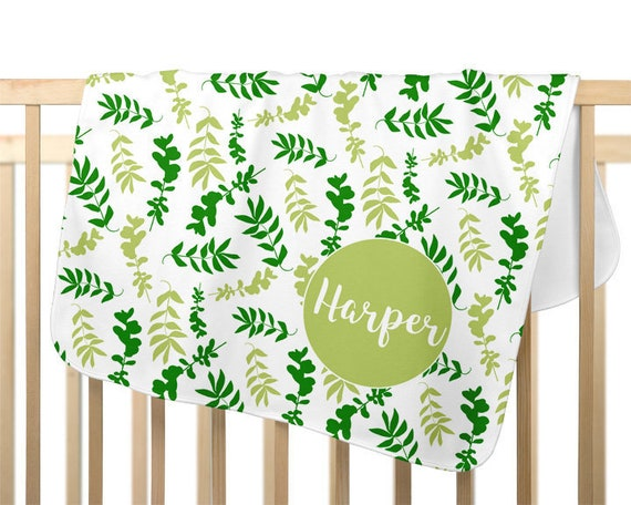 Green Baby Blanket for Girl Personalized with Name