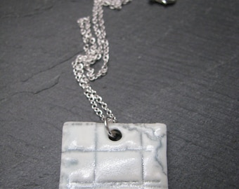 Square 'Vintage Maps' Porcelain Pendant Necklace, Celadon Glaze. Mounted on a 925 Sterling Silver Chain.