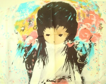 Vintage silk scarf Flower Girl by Ted DeGrazia, southwestern artist Arizona, pink, aqua, pale yellow silver grey mid-century accessory Japan