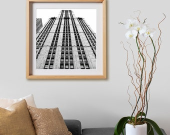 Woolworth Print.  Architectural photography, print, black and white, buildings, New York, decor, wall art, artwork, large format photo.