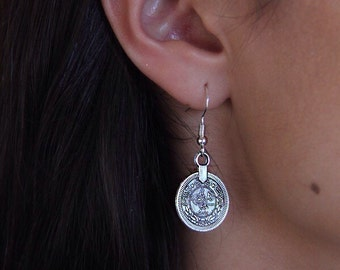 Gypsy coin earrings //  Vintage Silver // 925 sterling silver