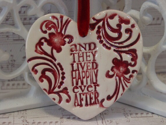 Wedding Gift Ornaments: Wedding Favor Gift Happily Ever After Ceramic Ornament