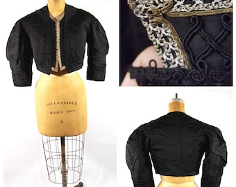 True Victorian Jacket - 1880s 1890s Gothic Black Silk Bolero Jacket Cropped Soutache Braided Metallic Trim