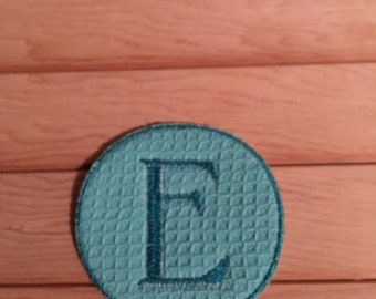 Teal Iron-On Monogram, Embroidery Letter E