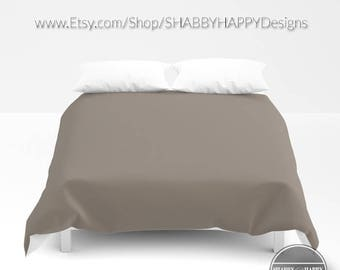 Solid Color TAUPE Choice of Duvet Cover or Comforter  Bedding Minimalist Modern Basic Art / Sizes Twin, XL Twin, Full, Queen, & King