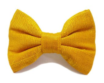 Hair clip bow 3-ply silk, yellow gold.