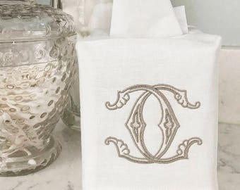 Monogrammed Linen Tissue Box Covers