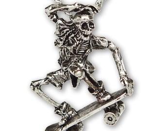 Urban Skeleton in Nose Grab on Skateboard Silver Finish Pewter Pendant Necklace NK-156