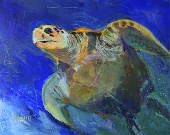 Sea Turtle Art Print of Original Acrylic Painting - 8x10