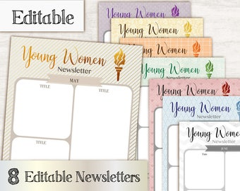Newsletter Young Women, Editable PDF, Monthly Newsletter, Young Women Print, yw values, Newsletter Template