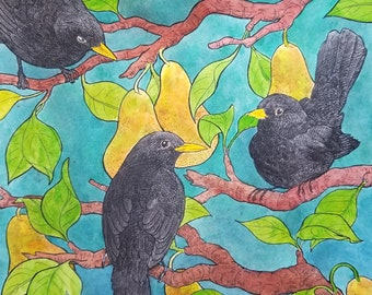 Blackbirds in a Pear Tree