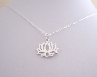 LOTUS FLOWER sterling silver charm with necklace chain, yoga necklace
