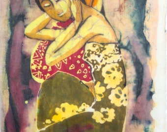 Lee Long Looi-Duo/Two Malaysian Girls-Signed Batik on Rice Paper