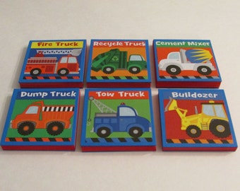 Boys Big Trucks Note Pads Set of 6 - Excellent Party Favors - Bulldozer Dump Truck Tow Truck Fire Truck Recycle Truck Cement Mixer