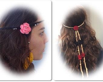 Boho headband, hippie headband, flower free style, bohemian accessorie