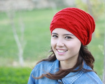 Red womens hat, women slouchy beanie, Red winter hat, women slouchy hat, slouchy knit hat, slouchy beanie hat, Winter beanie Red slouchy hat