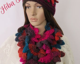 Handmade Crochet Scarf & Cap Set , Scarf, Cap, winter hat , Women's Crochet scarf- hat set