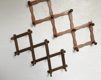 Wooden accordion peg rack, vintage wall hanging clothes storage